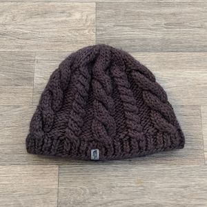 The North Face Cable Knit Brown Fleece Beanie